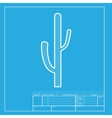 Cactus simple sign White section of icon on vector image