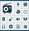 audio icons set collection of file earmuff vector image