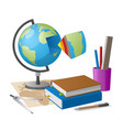geography lesson related elements cartoon globe vector image