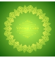 Golden leaf lace on green background vector image