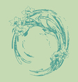 Hand drawing vintage circle wave with flowers vector image