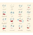Emotions Cartoon facial expressions set vector image