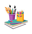 notebook pencils and eraser set of school and vector image