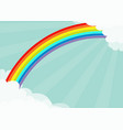 Fluffy cloud in corners frame template rainbow in vector image