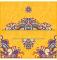yellow invitation card with neat ethnic background vector image vector image