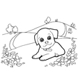 Coloring book with dogs and house vector image