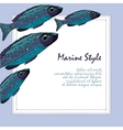 Background with fishes School of fish Template vector image