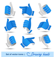 Collection of drawing hands vector image vector image