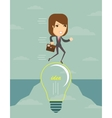 Businesswoman on a lightbulb cross an abyss vector image