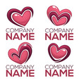 collection of heart hands and love logo concept vector image