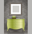 green dresser and the picture vector image