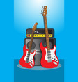 music instruments guitar bass and amplifier vector image