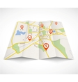 Navigation map with red pins vector image