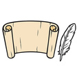 Roll of old paper and feather vector image