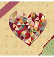 Heart made from triangles on polka dot vector image vector image
