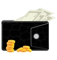Purse with money vector image
