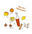winter gluhwein set oranges apples lemon cinnamon vector image vector image