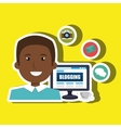 person blogging on desktop computer isolated icon vector image