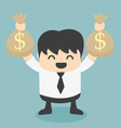 Businessman holds bags money vector image