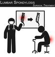 lumbar spondylosis and surgical treatment vector image