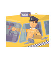 taxi driver sitting in car vector image