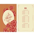 menu for the restaurant with roses vector image vector image