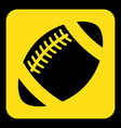 Yellow black sign - american football ball icon vector image