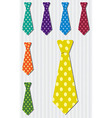 Bright polka dot silk tie stickers in format vector image