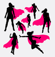 Female superhero silhouettes vector image