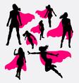 Female superhero silhouettes vector image