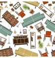 Retro seamless colorful home furnitures pattern vector image vector image