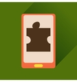 Flat icon with long shadow mobile phone puzzle vector image