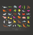 animals origami set black vector image