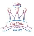 crown and skittles bowling club logo vector image