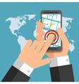 Smartphone screen Hand holding smartphone finger vector image