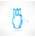 three fingers grunge icon vector image