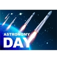 Astronomy day Rocket space Text for greeting vector image vector image