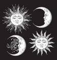 boho chic flash tattoo design sun and moon set vector image