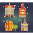 set of of night city buildings on dark blue vector image