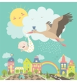 Stork bird with baby vector image