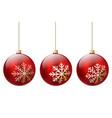three red christmas ball vector image
