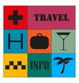 Travel icons on color background Colorful vector image