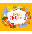 Fall season cartoon wreath with hello autumn vector image