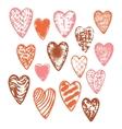 textured heart set vector image