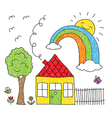 Kid s drawing of a house a tree and a rainbow vector image vector image
