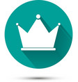 White crown icon on green background with shadow vector image
