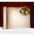 Christmas old paper background with snow vector image