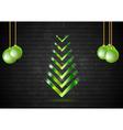 Abstract Christmas fir tree with green balls vector image