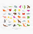 animals origami set color vector image