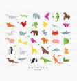 animals origami set color vector image